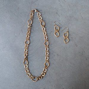 Set of Gold Chain Link Necklace and Earrings